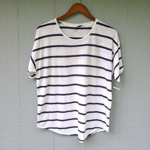 Madewell NWT XL Blue White Stripe Tee Dolman Top